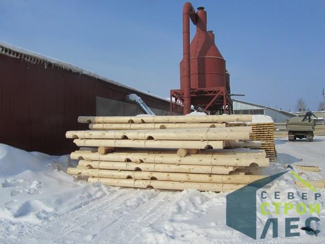 комплект из оцилиндрованного бревна на производстве северстройлес, подготовка  отгрузке
