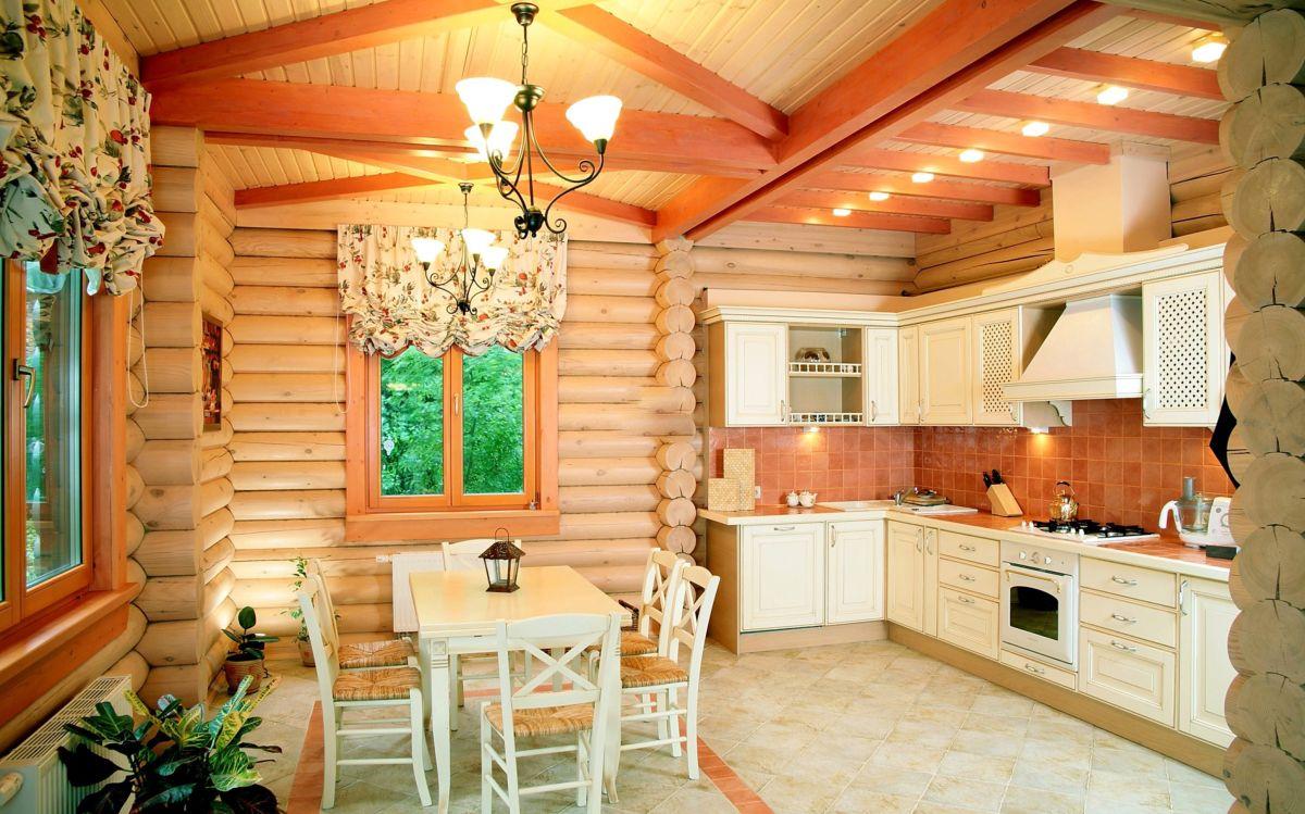 Дизайн кухни в срубе дома