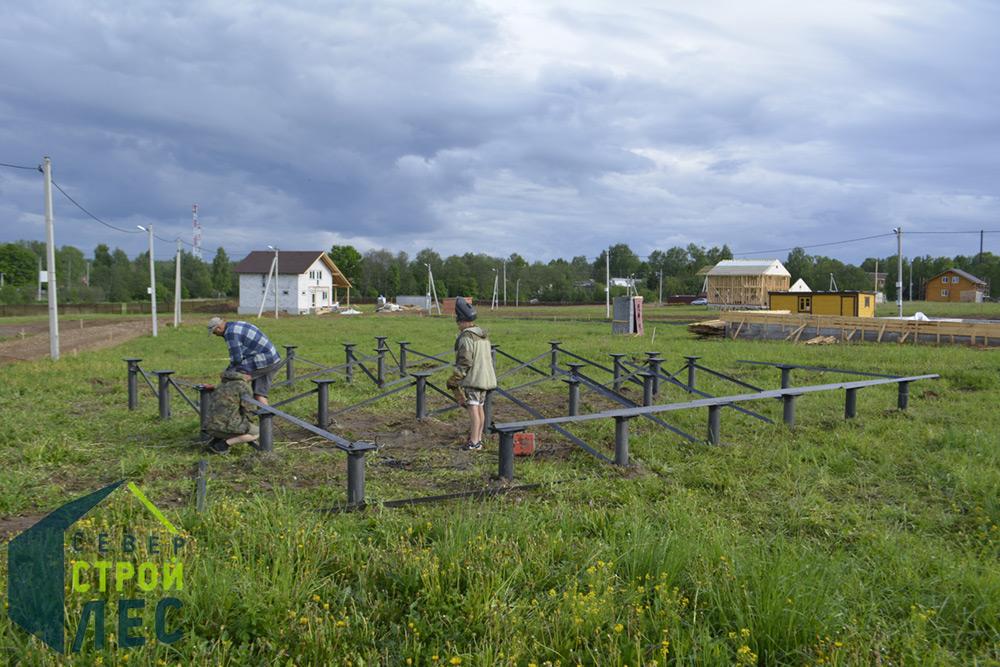 Подготовка фундамента для установки сруба дома