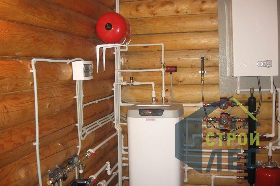 Газовый котел в доме из оцилиндрованного бревна, с разводкой коммуникаций