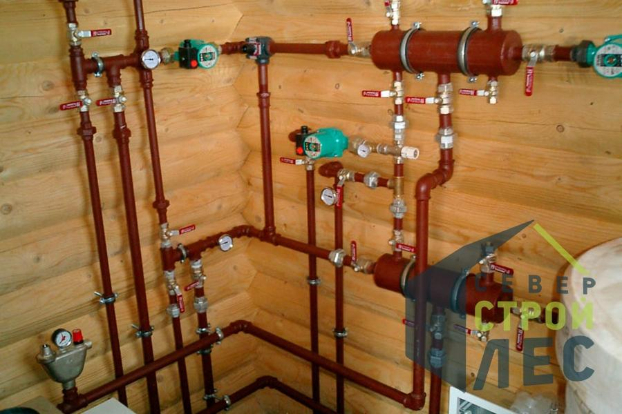 Разводка отопления от котла в частном доме, построенном из оцилиндрованного бревна