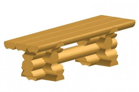 Скамейка из оцилиндрованного бревна
